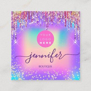 logo boutique shop glitter drips holograph square business card