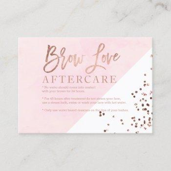 logo brows rose gold blush watercolor aftercare business card