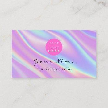 logo makeup artist hair nails holograph abstract business card