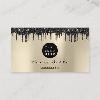logo professional black drip glitter consulting business card