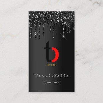 logo professional black drip glitter eyelash gina business card