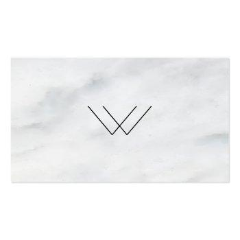Small Logo White Marble Square Business Card Front View