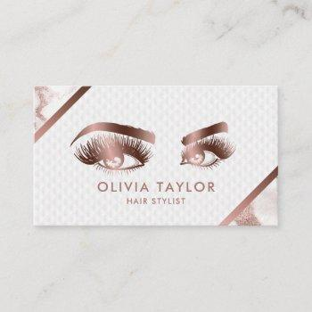 long lashes & brows makeup artist rose gold marble business card
