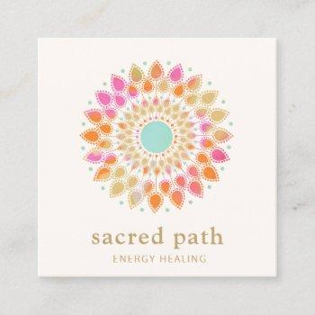 lotus floral mandala square business card