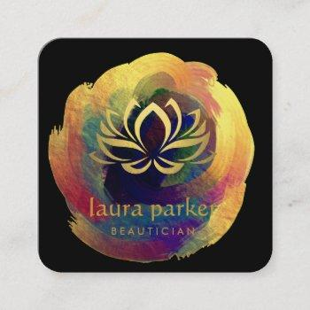 lotus flower gold art logo healing yoga holistic square business card