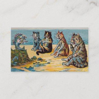 louis wain fish stories - funny cat business card