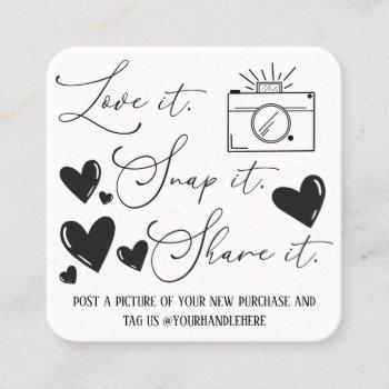 love snap share camera hearts script etsy business square business card