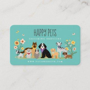 loveable happy pet family pet care, grooming blue business card