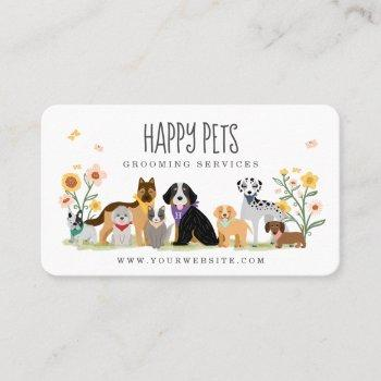 loveable happy pet family pet care, grooming white business card