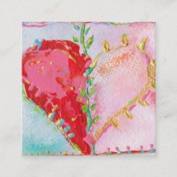 lovely heart square business card