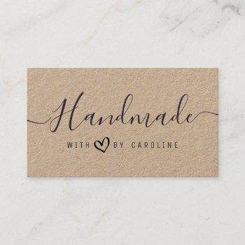 lovely script handmade kraft business business card