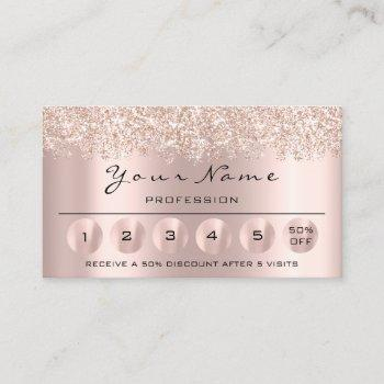 loyalty 6 makeup hairdresser eyelash rose glitter business card