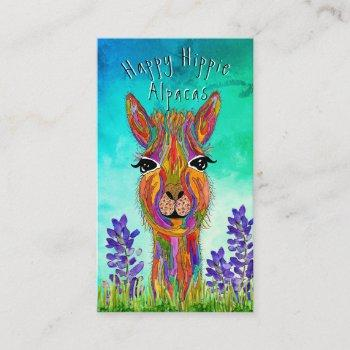 lucy the llama with blue green background business card