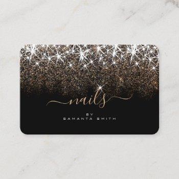 luminous golden glitter glam stars nails designer business card