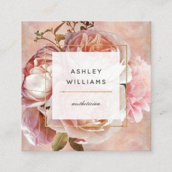 luminous rose & peony elegant modern floral square square business card