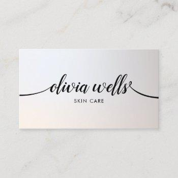 luminous silver handwritten calligraphy salon spa business card