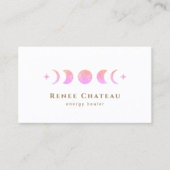 lunar pink ombre moon phases reiki practitioner business card