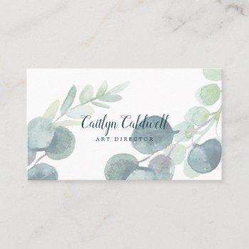 lush greenery and eucalyptus art business card