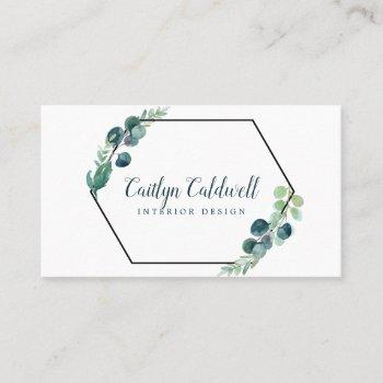 lush greenery black geometric business card