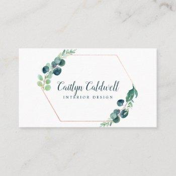 lush greenery rose gold geometric business card