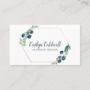 lush greenery rose gold geometric business card
