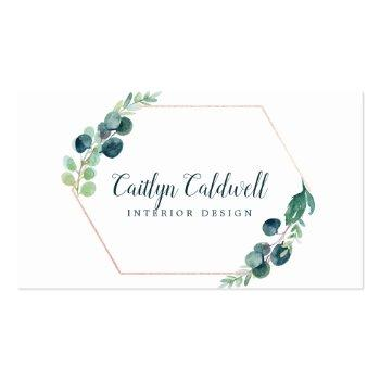 Small Lush Greenery Rose Gold Geometric Business Card Front View
