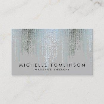 luxe blue silver confetti rain pattern business card