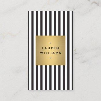 luxe bold black and white stripes with gold box business card