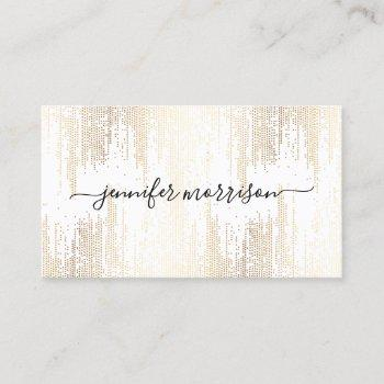 luxe faux gold confetti rain calligraphy business card