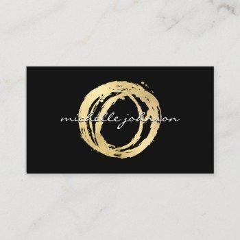 luxe faux gold painted circle designer logo black business card