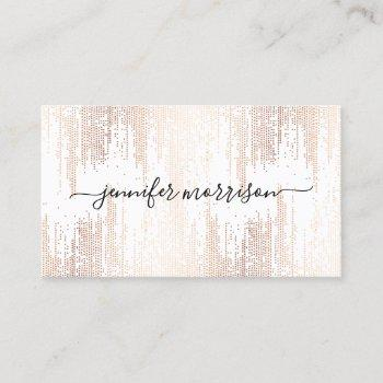 luxe faux rose gold confetti rain calligraphy business card