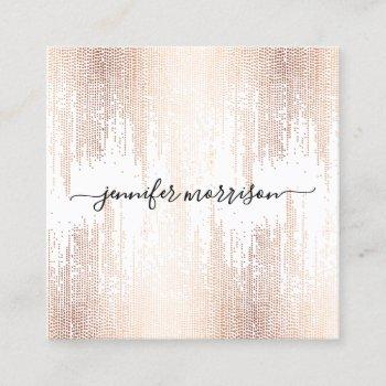luxe faux rose gold confetti rain calligraphy square business card
