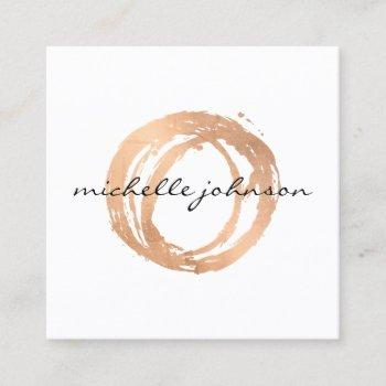 luxe faux rose gold painted circle designer logo square business card