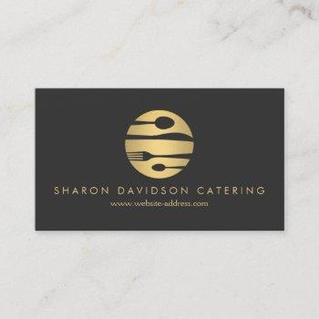 luxe gold and black catering, restaurant, chef business card