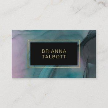 luxe ink wash jewel tones marble pattern business card