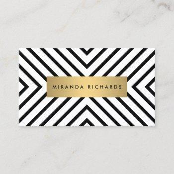 luxe mod black and white pattern with gold bar business card