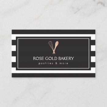luxe striped rose gold whisk spoon logo bakery business card