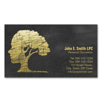 luxury black psychologist personal counselor magnetic business card