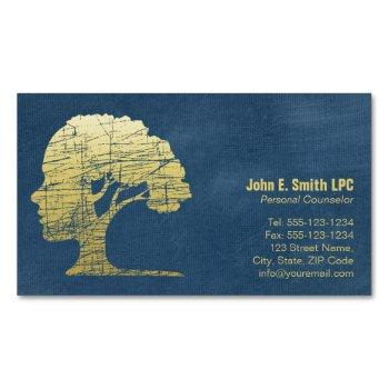 luxury blue psychologist personal counselor magnetic business card