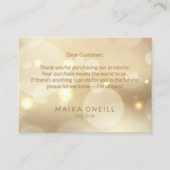 luxury champagne bokeh thank you for your purchase business card