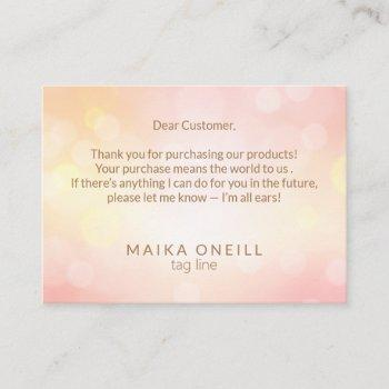 luxury chic pink bokeh thank you for your purchase business card