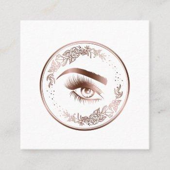 luxury floral rose gold lashes circle eyes brows square business card