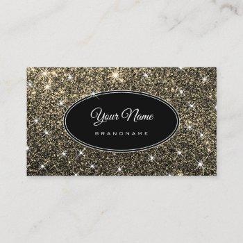 luxury golden glitter glam luminous stars elegant business card