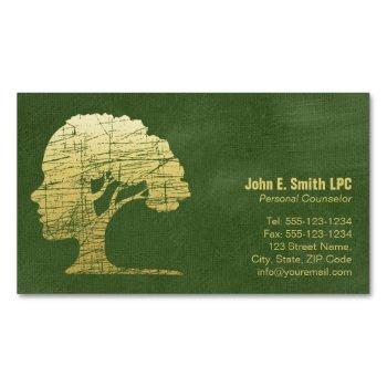 luxury green psychologist personal counselor magnetic business card