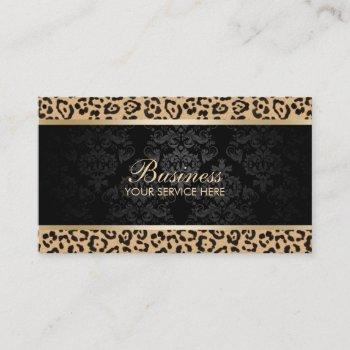 luxury leopard black damask beauty salon business card