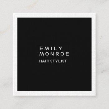 luxury linen plain black & white modern minimalist square business card