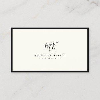 luxury minimal monogram black ivory chic stylish business card