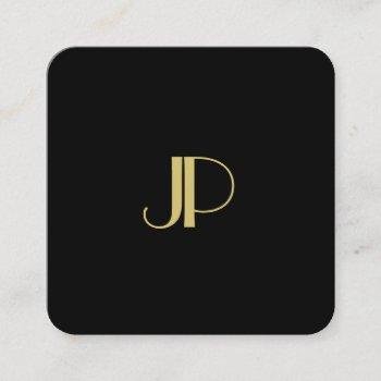 luxury modern elegant gold monogrammed template square business card