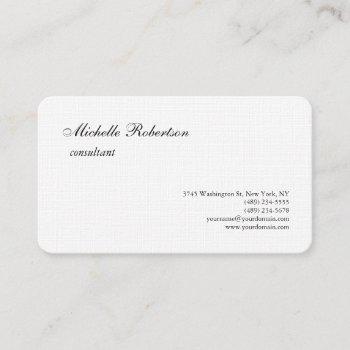 luxury premium linen black white plain minimalist business card