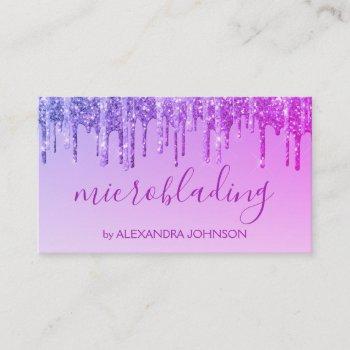 luxury purple glitter sparkle microblading business card